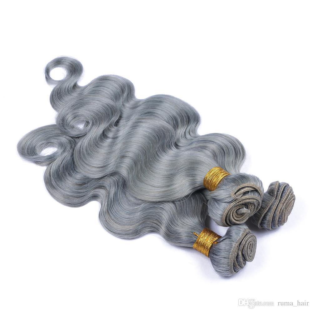 Hot Sale Silver Grey Brazilian Hair Grey/Gray Hair Extensions Brazilian Body Wave Human Hair Bundles 8-30 inch Wholesale Price
