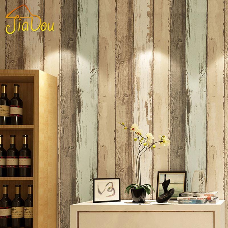 Modern Vintage Wood Pattern Striped Non Woven Fiber Wallpaper Roll ...