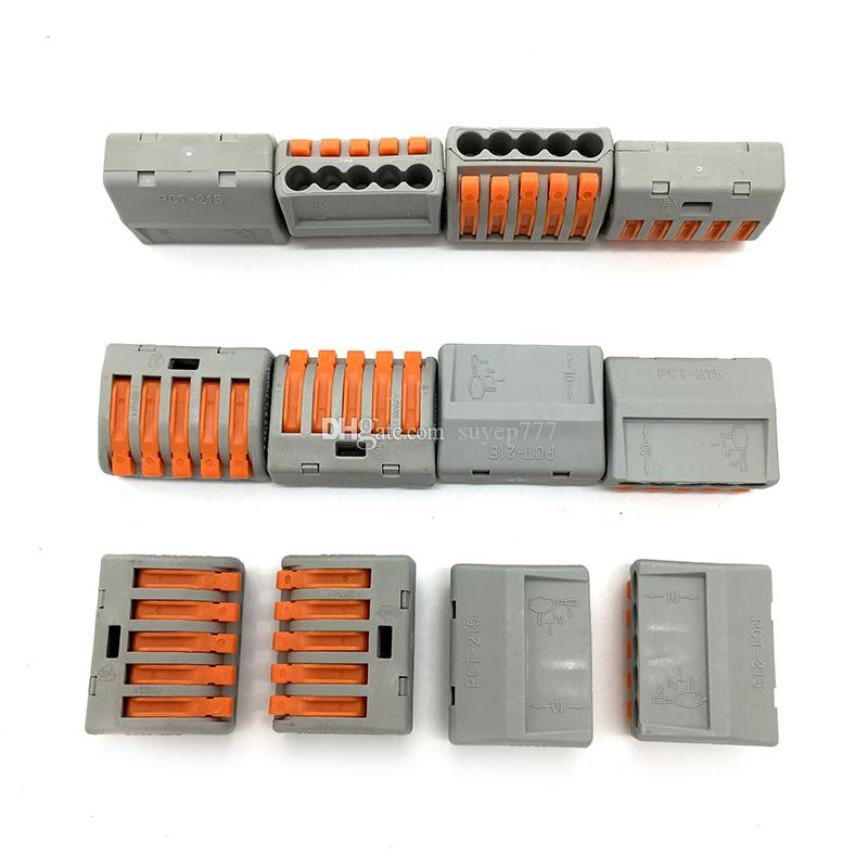 222-T-215 type Universal Compact 5 wire Conductor Terminal Block spring lever push fit reusable cable 5 wire