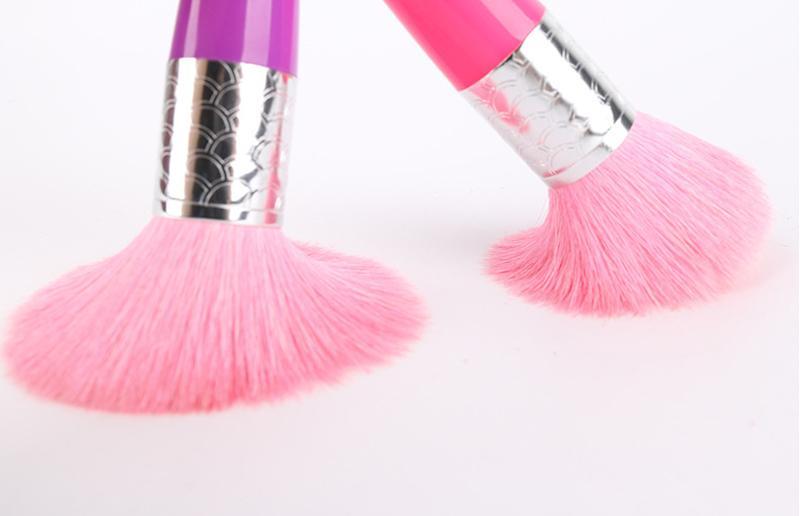 Carino sirena grande spazzola in polvere rosa capra capelli portatile faccia trucco spazzole il viso make up