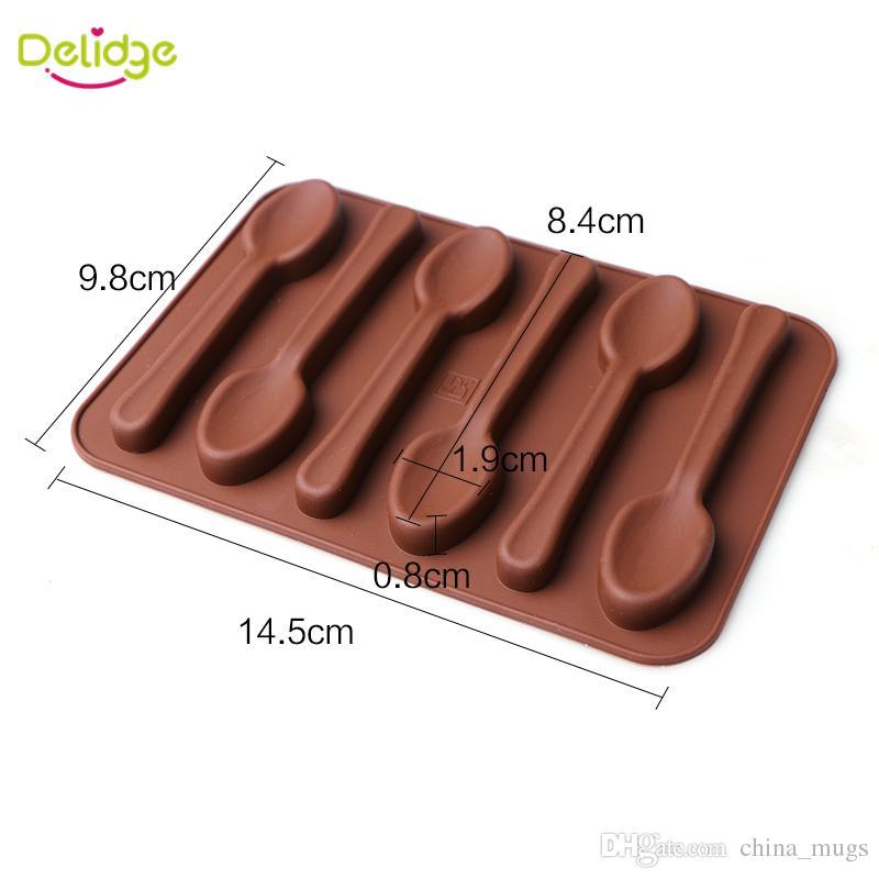 무료 배송 Delidge 6 구멍 숟가락 모양 초콜릿 곰팡이 실리콘 DIY 케이크 장식 금형 아이스 베이킹 금형 숟가락 케이크 금형