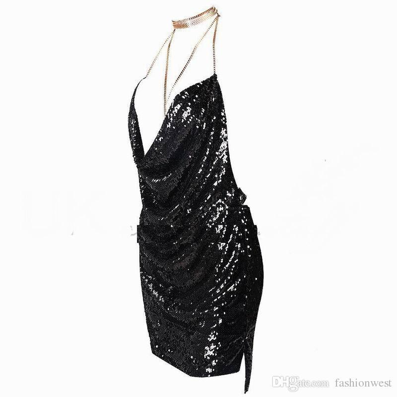 2017 Top Fashion Rushed Cocktail Dresses Sexy Elegant Womens Backless Sequin Dress Ladies Kendall Chain Choker Slip Evening Party Prom Gown