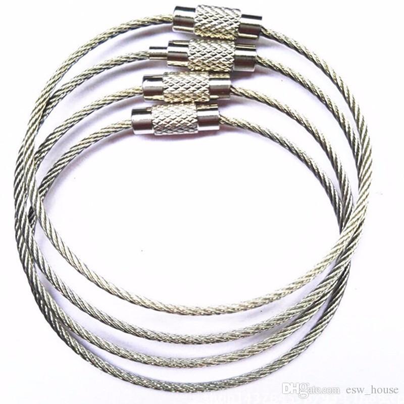 Açık Yürüyüş için Paslanmaz Çelik Tel Anahtarlık tel halat anahtar Zinciri Karabina Kablo Anahtarlık Anahtarlık