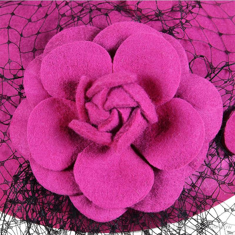 Dam Vintage Church Dress Fascinator Wool Hair Pillbox Hat Rose Floral Veil Cocktail Party Wedding A043