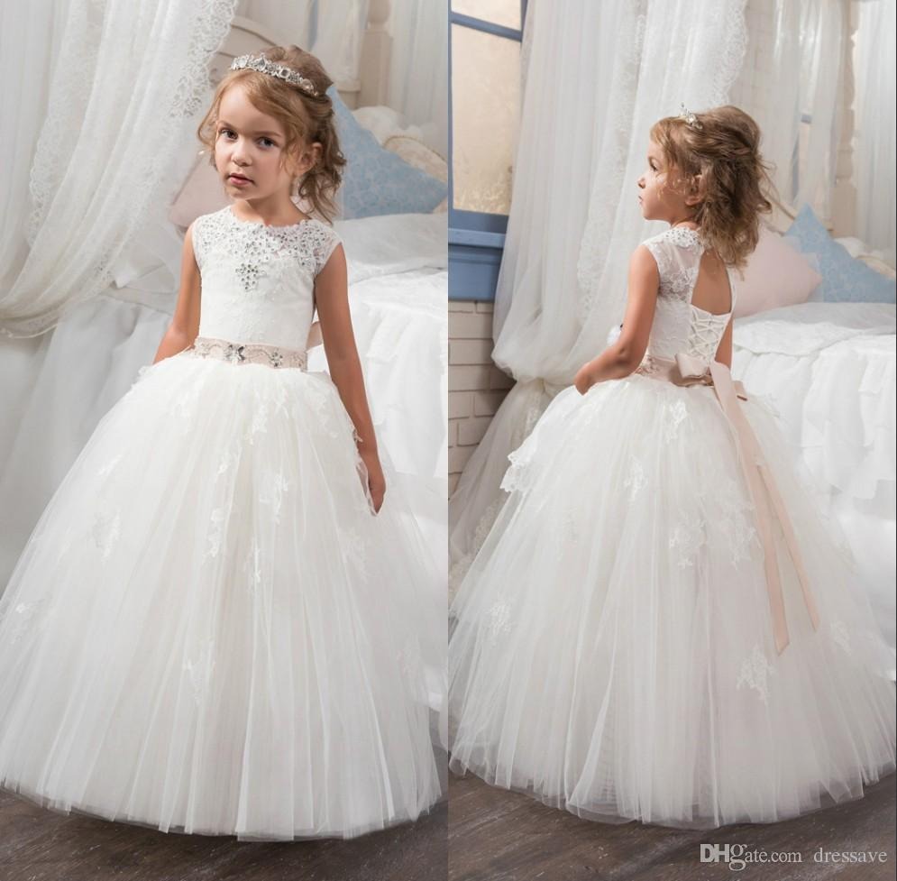 bed5bf49c30 2018 Flower Girls Dresses With Sash Appliques Spaghetti Straps Ball Gown  Ruffles Tulle Pageant Dresses Long Girl Dresses For Wedding Girl Shoes Girls  Dress ...