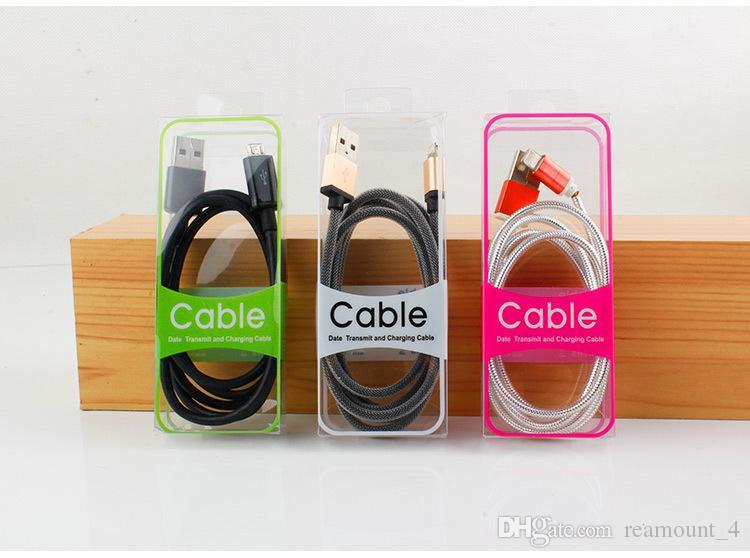 En gros Nouveau PVC Blister Sacs pour 2m USB Câbles Emballage Boîtes pour Samsung Apple HTC Data Cables Emballage en plastique Boîtes