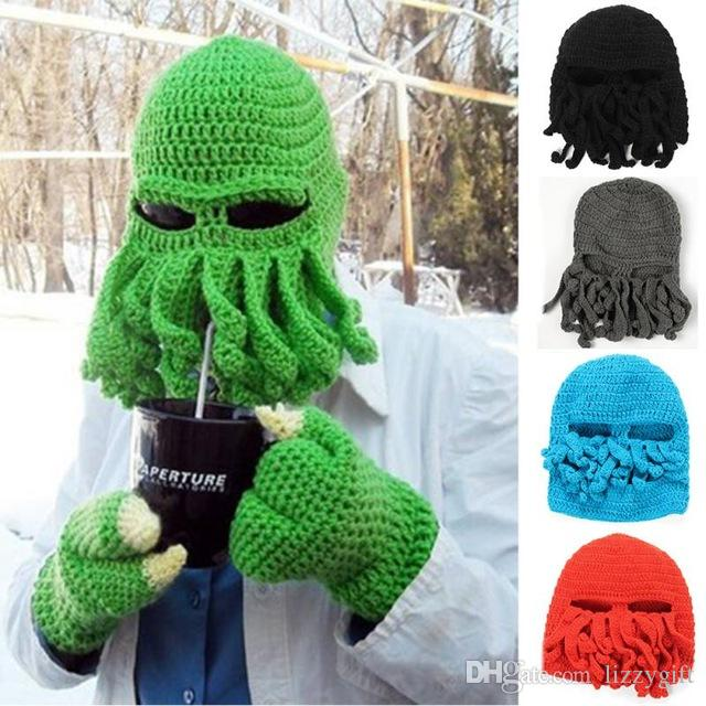 a2968e57c3c Handmade Funny Tentacle Octopus Hat Crochet Cthulhu Beard Beanie Men S  Women S Knit Wind Mask Cap Christmas Animal Gift Crochet Hats Headwear From  Lizzygift ...