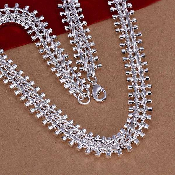 silver necklace fashion jewelry chain fish bone necklaces & pendants women men collar