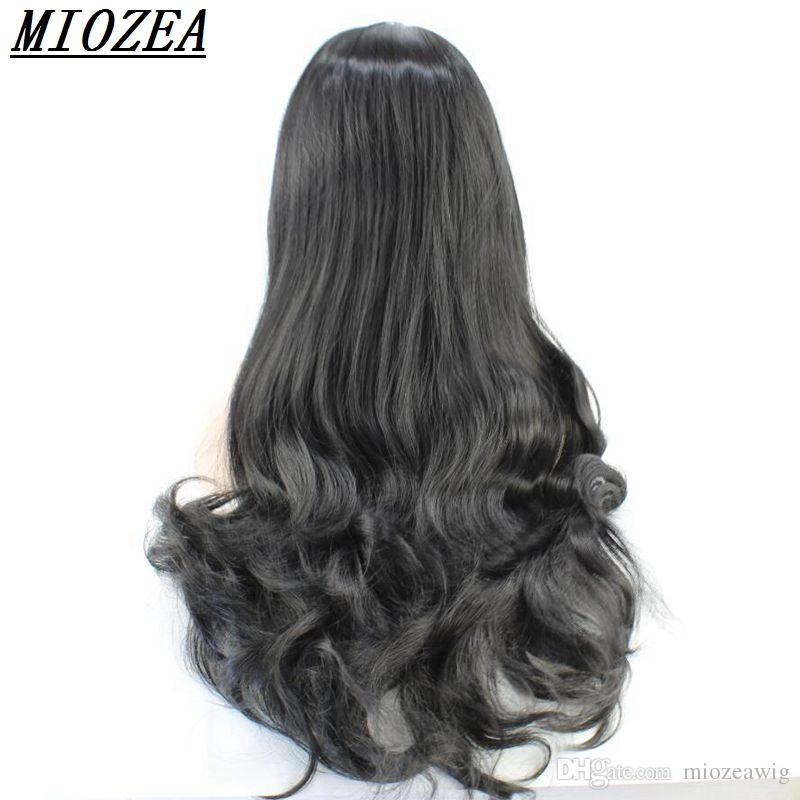 26inch Long Body Wave style Synthetic Hair Lace Front wig High Temperature Fiber For Natural black Women Wig