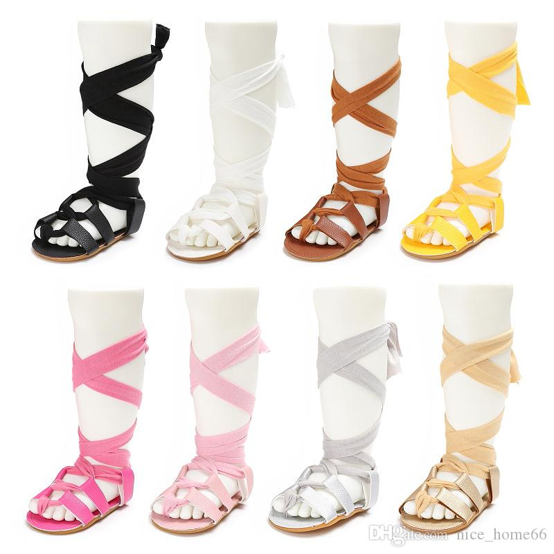 Baby Girls Sandals Summer Toddler Kids Flat Heels Lace-up Sandals Girls Rome Sandals Baby First Walkers Shoes PU Leather Shoes