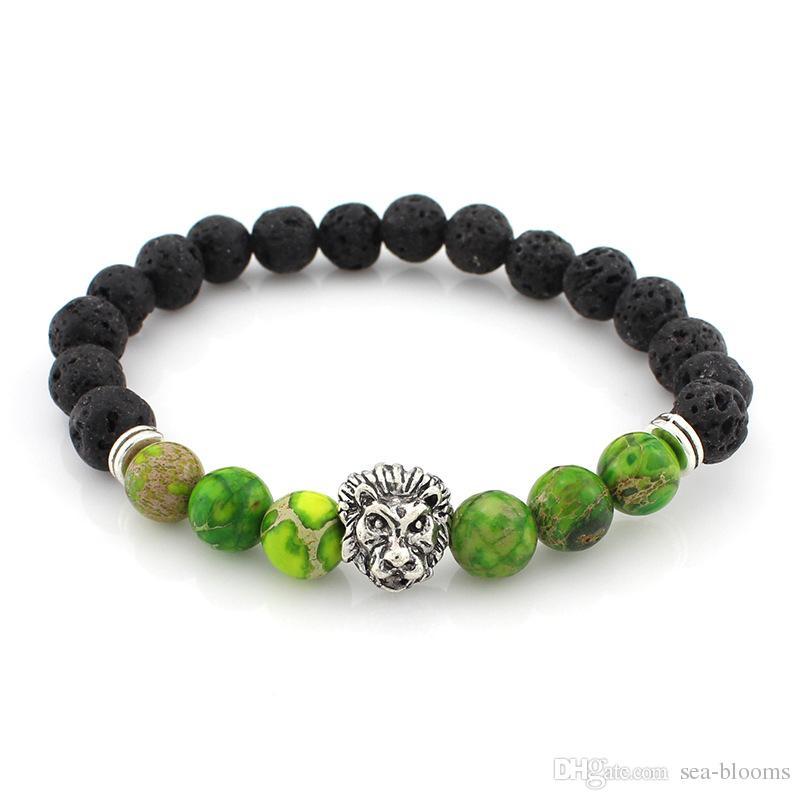 10 Styles Lion Head Bracelet Buddha Beads Chakras Bangles Charm Lava Rock Stone Elastic Yoga Bracelet Men Jewelry Top Seller Preferred B331S