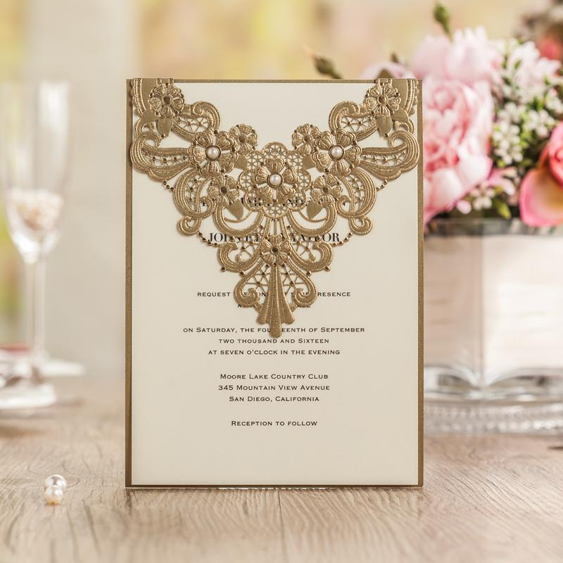 Wholesale Elegant Gold Wedding Invitations Card 2016 New Luxury Laser CW5239 Businiess Birthday Party Invitation Online Greetings Cards Order