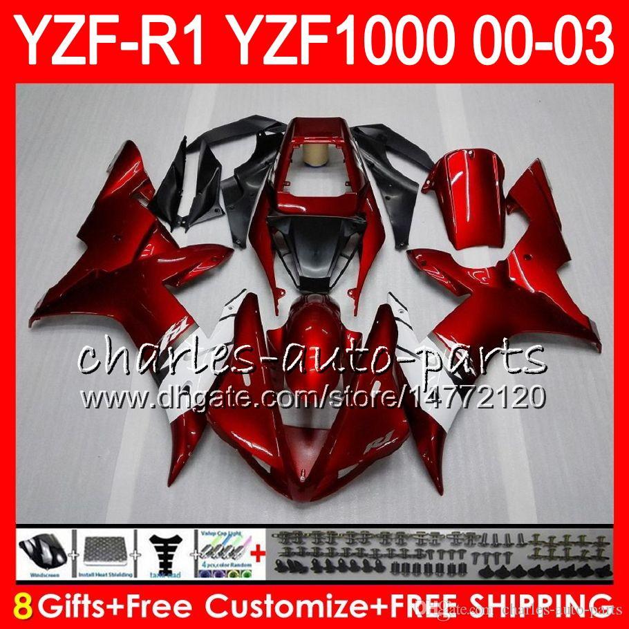 8GIFT LICHAAM VOOR YAMAHA YZF1000 YZFR1 02 03 00 01 ROOD BLACK YZF-R1000 62HM9 YZF 1000 R 1 YZF-R1 YZF R1 2002 2003 2000 2001 FACKING