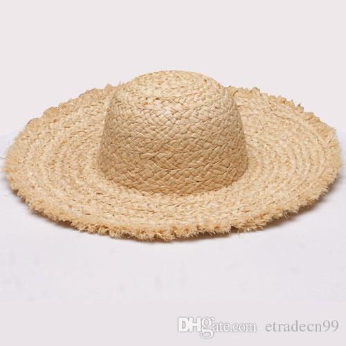 0fc3ab1bb06 Women Natural Wide Brim Raffia Straw Hats Frayed Fringe Women Solid Color  Plain Large Beach Summer Sun Caps Big Straw Cap Wholesale Ladies Hats  Floppy Hats ...