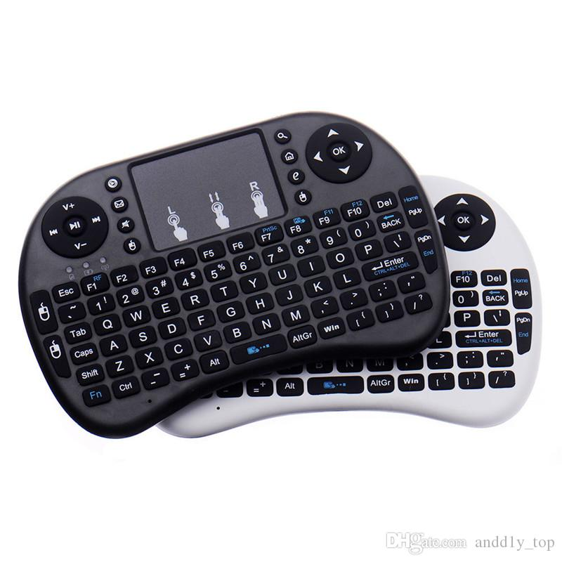 مصغرة RII I8 لوحة المفاتيح اللاسلكية 2.4 جرام إنجليزي إنجليزي ماوس لوحة مفاتيح التحكم عن بعد لوحة اللمس ل Smart Android TV مربع الكمبيوتر اللوحي الكمبيوتر اللوحي
