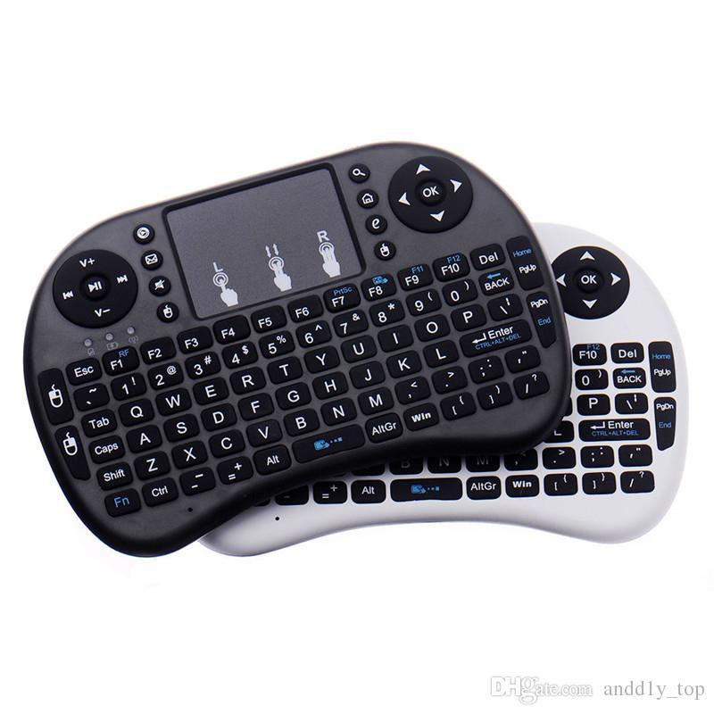 미니 RII 스마트 안드로이드 TV 박스 노트북 태블릿 PC 용 무선 키보드 2.4G 영어 에어 마우스 키보드 원격 제어 터치 패드를 I8