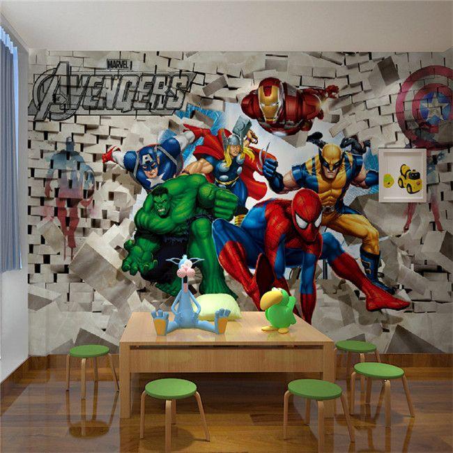 Пользовательские Фото Обои Avenger Union Hulk Человек-Паук 3D Стереоскопический Кирпичная Стена Фон Живопись Искусство Стикеры Стены
