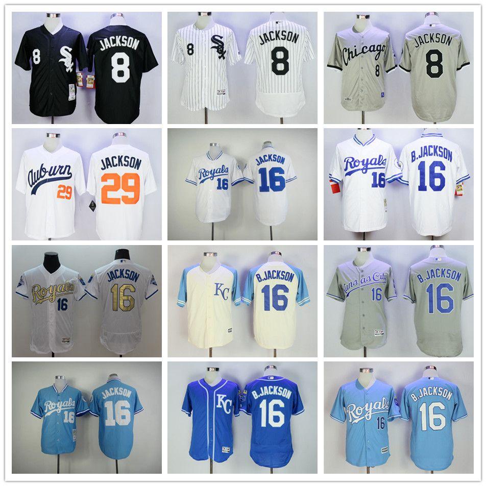 0ffc37823 ... 2017 Bo Jackson Jersey 16 Kansas City Royals Baseball 1985 1987 Turn  Back Throwback Chicago White Replica Bo Jackson Auburn ...