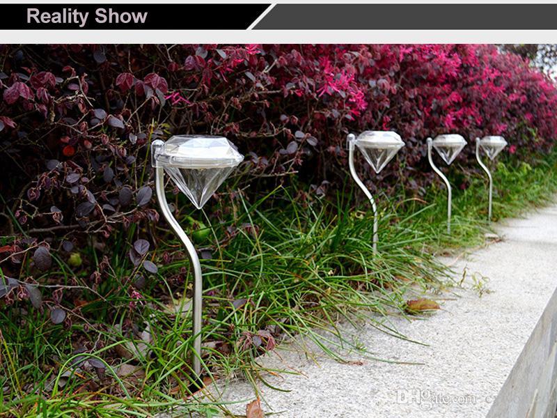 LED Solar Powered garden light Diamanti forma bianco / Bianco caldo / RGB Luce Prato Luce solare Pathway Garden Path Lampade a palo Lanterne Lampade da esterno