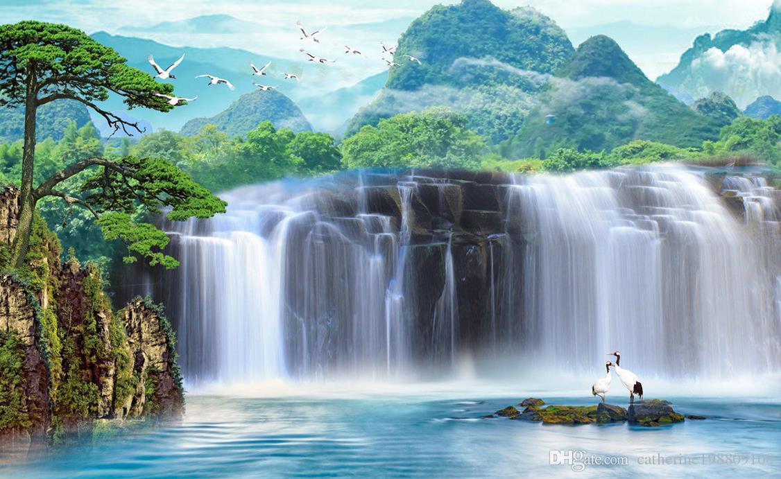 Таможня любой размер большой водопад ПСД ТВ фоне росписи 3D обои 3D обои для ТВ фоне