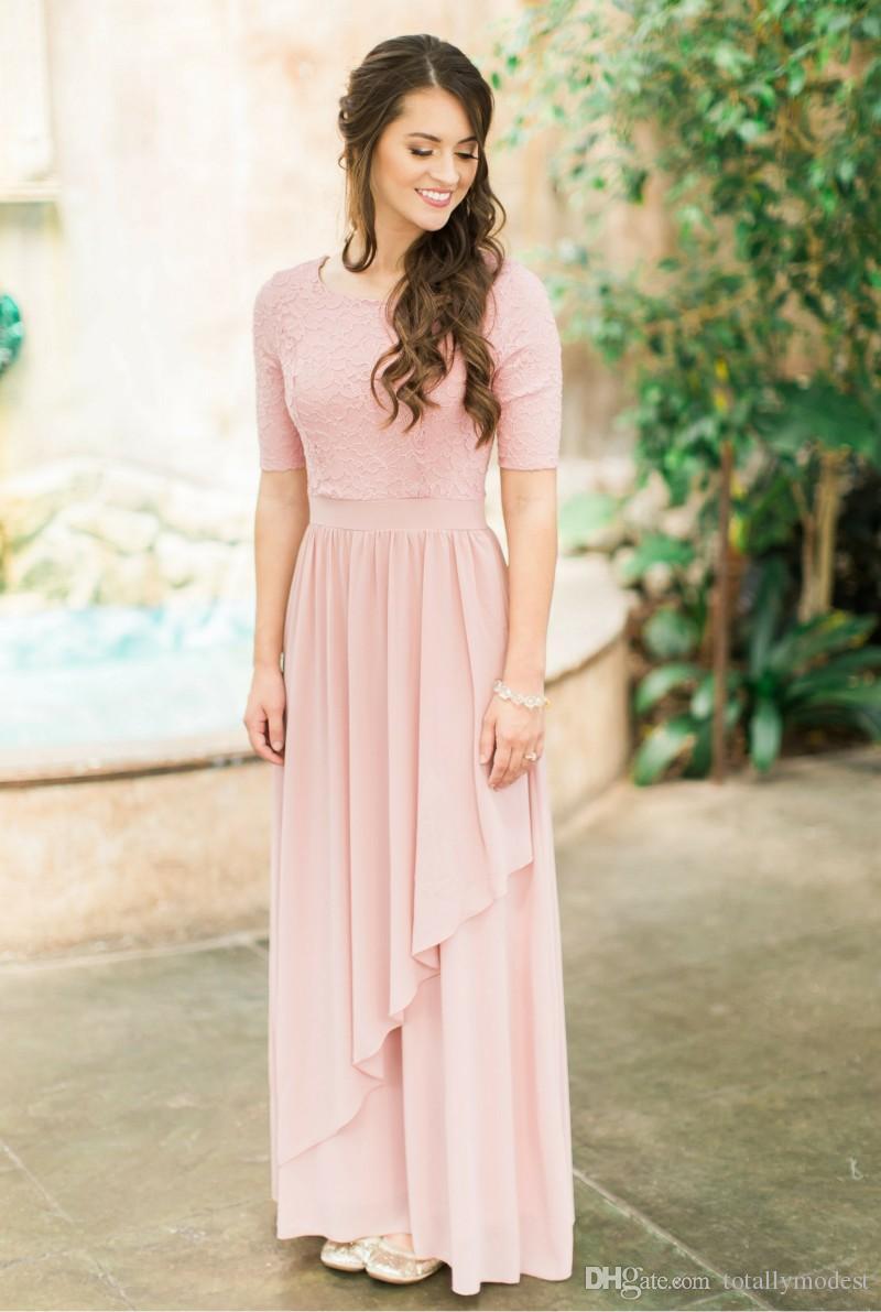 블러싱 핑크 레이스 쉬폰 긴 겸손한 신부 들러리 드레스 반 슬리브 나라 웨딩 신부 들러리 드레스 Boho Sleved Customed Made