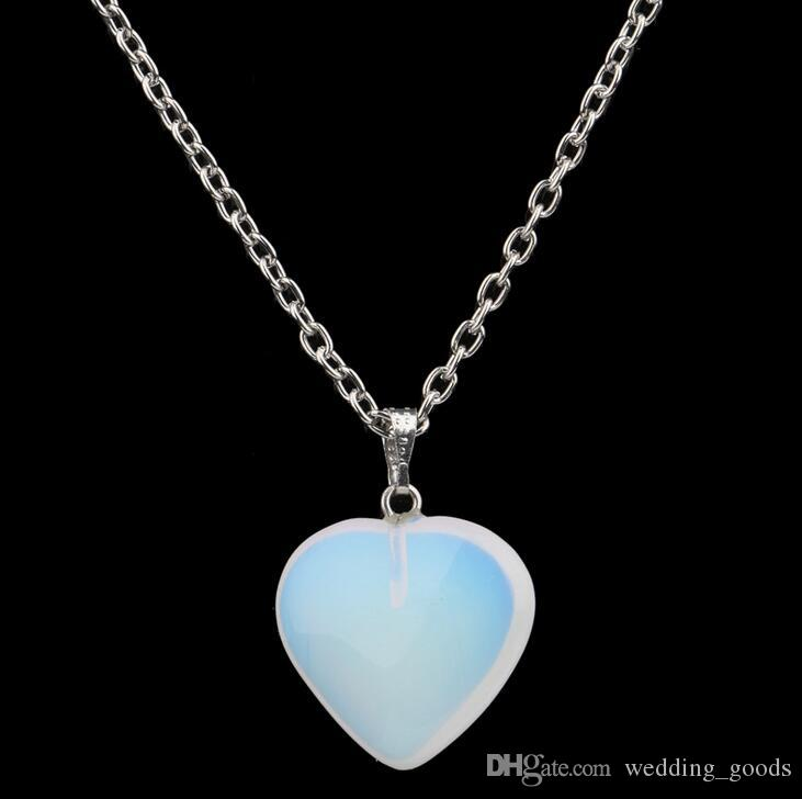 Hot sale Hot new turquoise stone pendants turquoise crystal peach heart natural stone necklace WFN003 with chain a