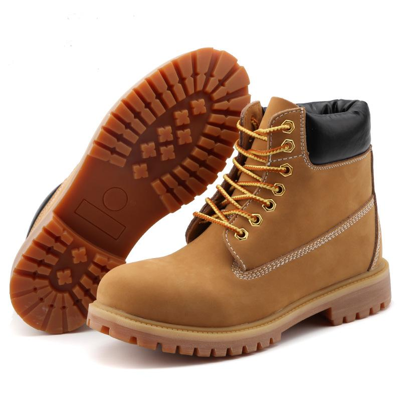 aa73acb6440 Leather big yellow boots, autumn and winter new European and American  waterproof high boots, men and women couples anti-skid Martin boots
