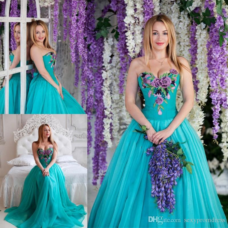 444f51f0e34 Dark Turquoise Sweetheart Prom Dresses Embroidered A Line Evening Gowns  Chiffon Floor Length Elegant Formal Party Dress Custom Made Evening Dress  Pattern ...