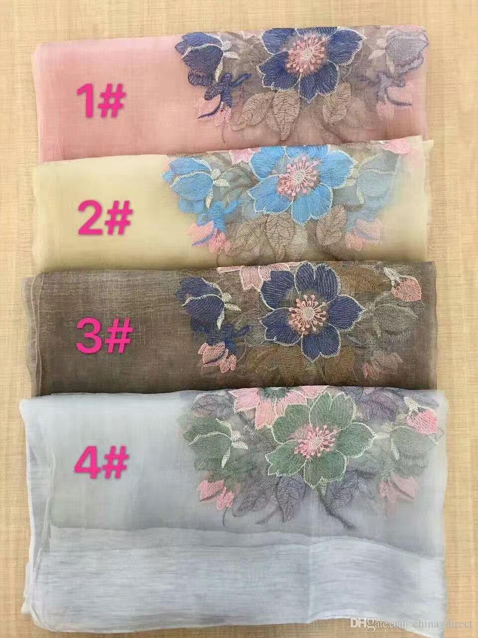 2017 neue silk wolle floral Stickerei Schal Schal Wrap 4 Farben gemischt / # 4020