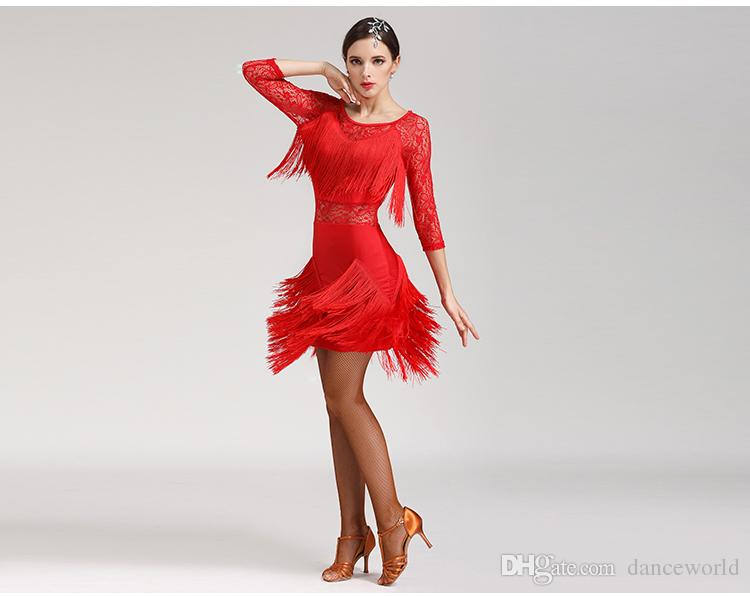 2019 Lace Tassel Latin Salsa Dresses Set Women Dance Skirt Lady Ballroom Latin Dancing Dresses Competition Cha Cha/Rumba/Tango Skirt