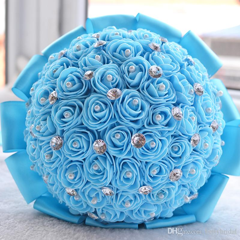 2017 Bouquet De Mariage Wedding Handmade Flowers Bouquets Purple Pink Red Ivory Yellow Turquoise Bridal Bridesmaid Flower