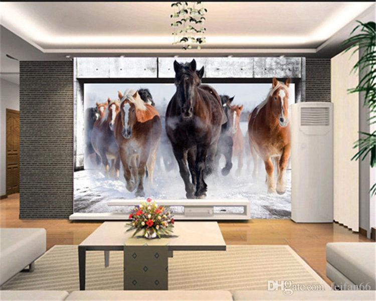 photo wallpaper Horse White Horse large mural Continental back wall sofa bedroom TV backdrop 3d mural wall paper living room