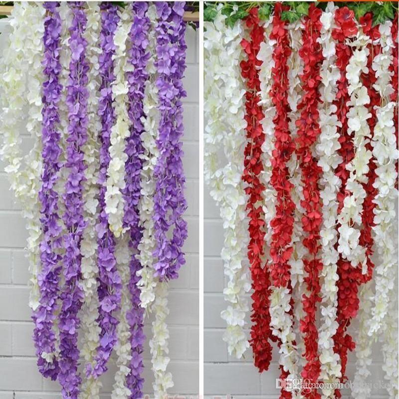 2016 künstliche Hortensie Wisteria Blume 10 farben DIY Simulation Hochzeit Bogen Tür Hause Wandbehang Garland Für Hochzeit Garten Dekoration