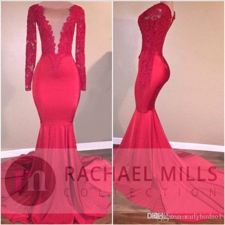 2017 African Red Custom Mermaid Illusion Prom Party Abiti da sera formale Celebrity Gowns Tiered Ruffles Train con maniche lunghe Prom Dress