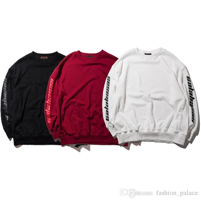 2019 Black White Red CALABASAS Print Sweatshirt Kanye West O Neck Pullover  Hoodie Hip Hop Streetwear Unisex Skateboard Sweater Top PXG1019 From ... e743b788a