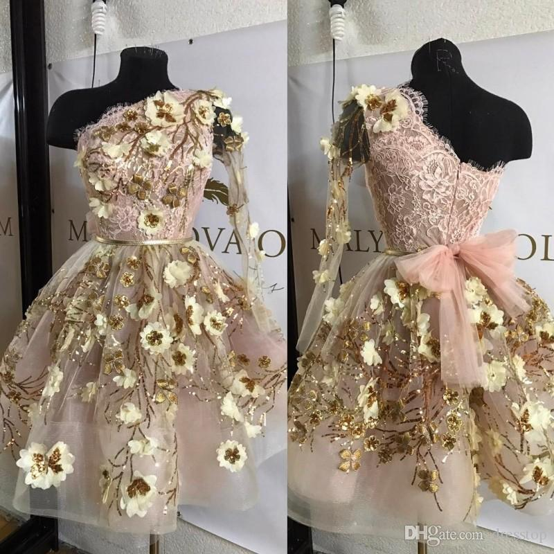 Cheap Gold Lace Graduation Dresses Appliqued One Shoulder Long Sleeves Homecoming Dress Short Mini A Line Juniors Prom Gowns