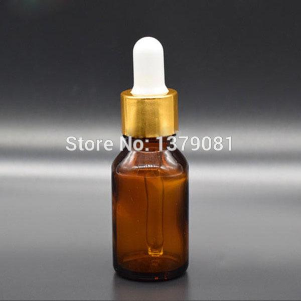 00ef62e3c92e 20ML Amber Glass Bottle With Dropper Brown Empty Bottles Withe Gold Rim  Mini Sample Vials Essential Oil Bottle Free shipping