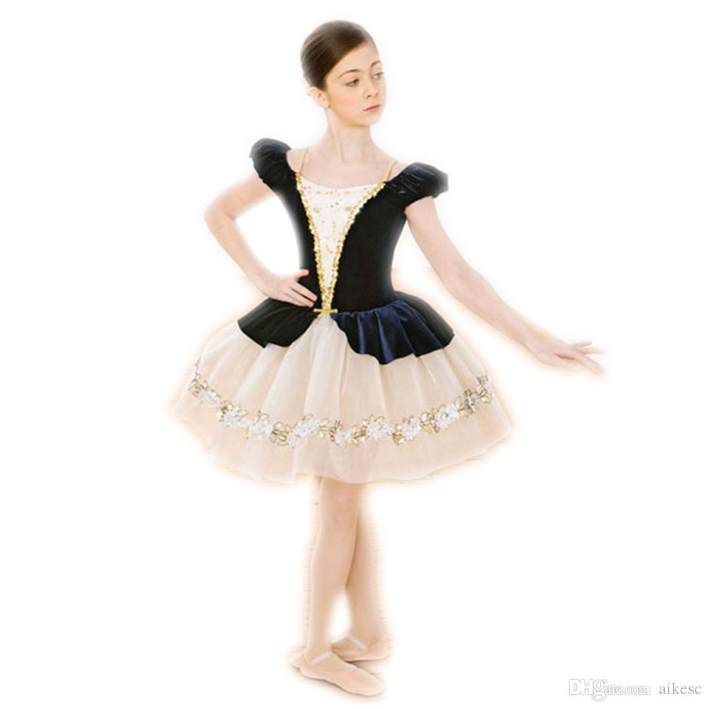 0a16baad0 Compre Preto Ballet Traje De Dança Dress Para Crianças Roupas De Dança Para  Meninas Roupas De Outono De Dança Ballet Saia Feminina Bailarina L31 De  Aikesc