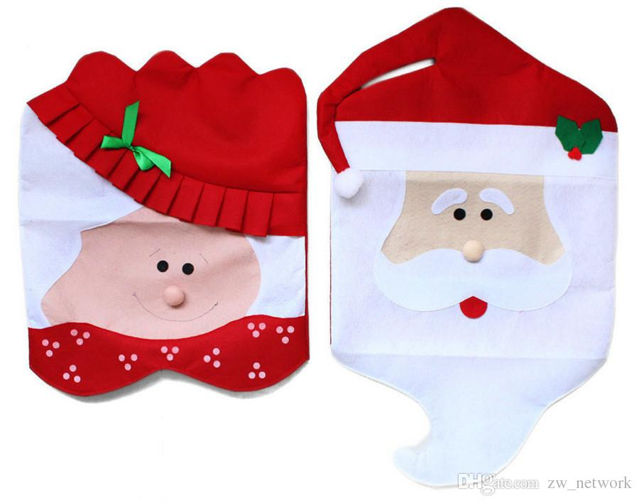 Christmas Chair Covers Covering Non-Woven Red Hat Chaircase Snowman 2 styles Christmas Decorations Santa Claus Children GIFT
