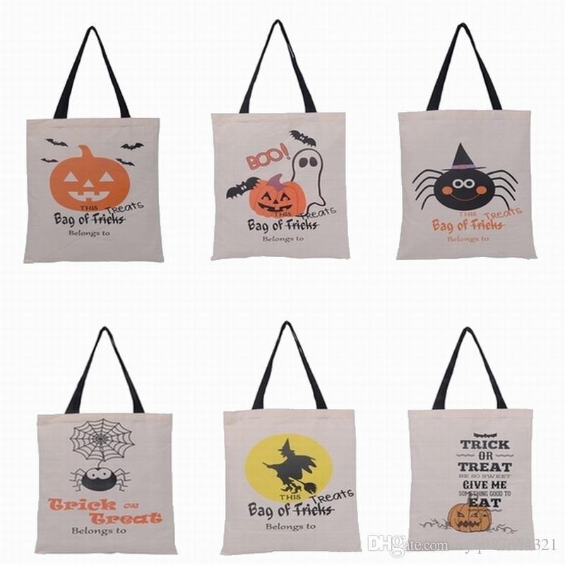2017 горячие продажа Хэллоуин подарочные пакеты Большой хлопок холст сумки тыква Дьявол паук печатных Хэллоуин конфеты подарочные пакеты 100 шт./лот