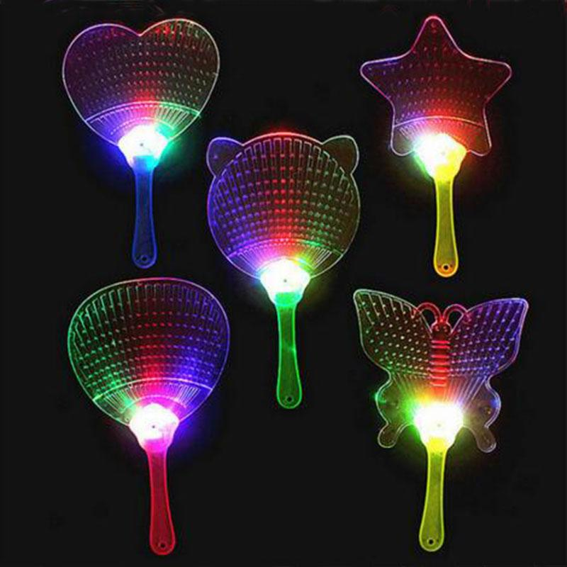 2015 New Halloween Christmas Colorful Flash Fan Light Emitting Fans Pushan Advertising Gift LED Flash Light Fan Toys Party Fan