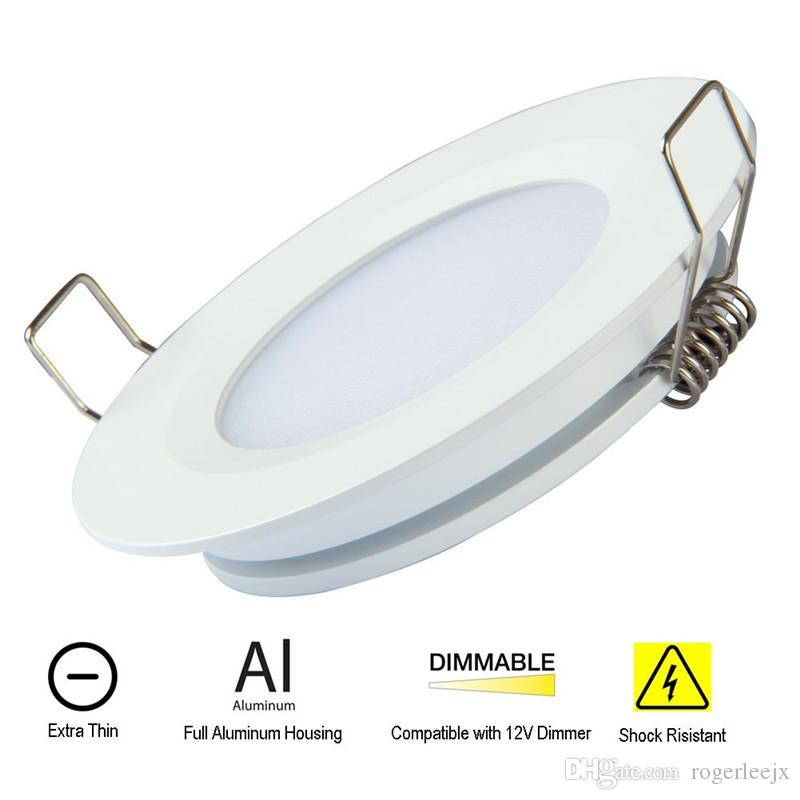 Topoch LED Ceiling Downlight Ultra Thin 6-Pack Spring Clips Mount Full Aluminium DC12V 3W 300LM for RV Boat House Sliver White Nickel Finish