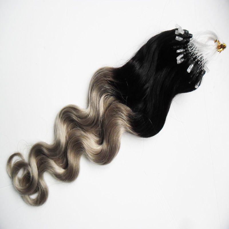 Prolunghe capelli in micro onde argento a onde d'onda corpo 1g 100s T1b / estensioni anello mikro capelli umani grigio rey ombre