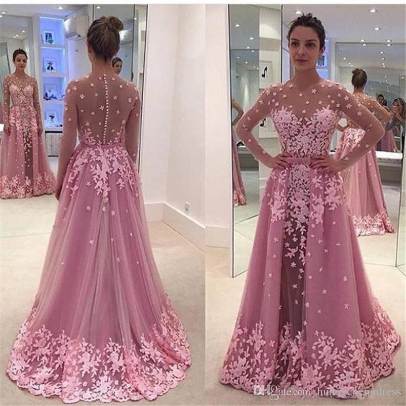 2019 Blush Różowy Aplikacja Koronki Prom Dresses Sheer Jewel Illusion Długą rękaw Suknia Seksowna Sexy See Przez niestandardowe suknie wieczorowe