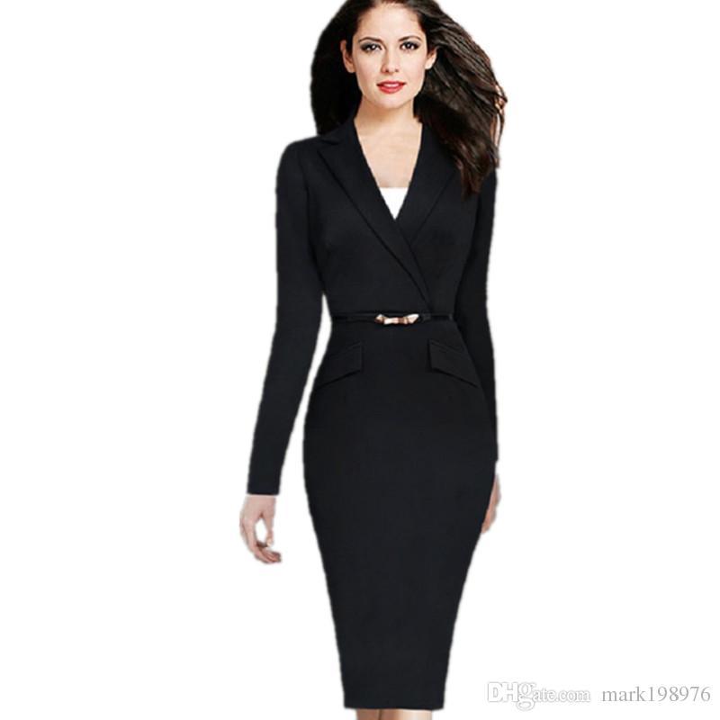 78aea7034f964 Satın Al 2017 Sonbahar Kış Kadın Elbise Moda Takım Elbise Yaka Bayanlar Ofis  Elbiseler Uzun Kollu Zarif Çalışma Elbise Marka Kalem Elbise Ücretsiz Kemer  ...