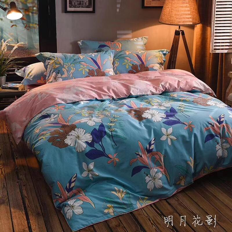 40*40/133*72 100% cotton fabric flat sheet bedding set four pieces set home textile products queen and king size,flower designs