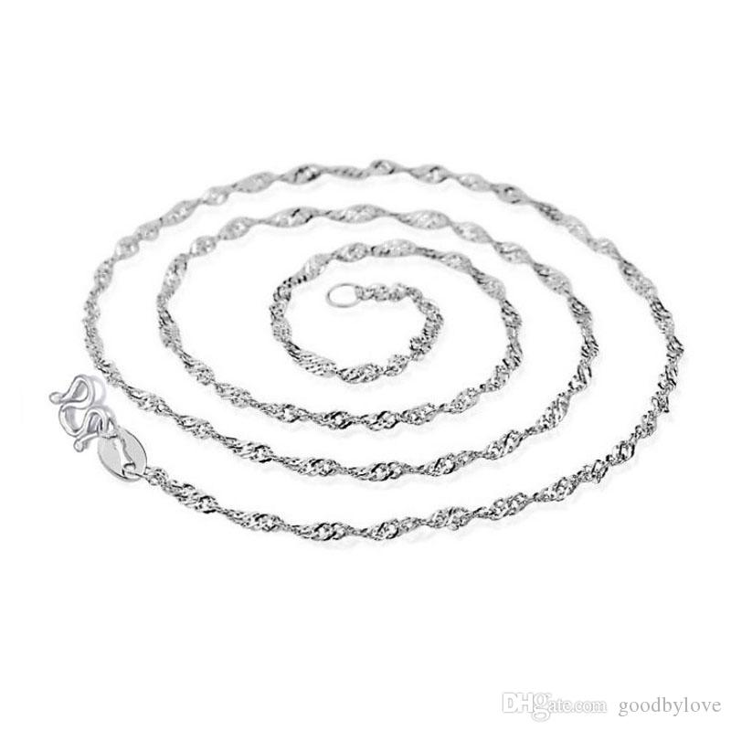 Silver Plated 2MM Slim Twisted Singapore Water Wave Chain Necklace for Pendant Charms Hot Gift Fashion Womens Jewelry