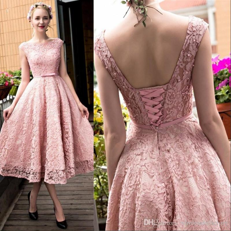 6c42ae0e9f314 2017 Glamorous Tea-Length Pink Lace Homecoming Prom Dresses with Beaded  Boat Neck A-Line Lace-up Cocktail Party Dresses BA4112