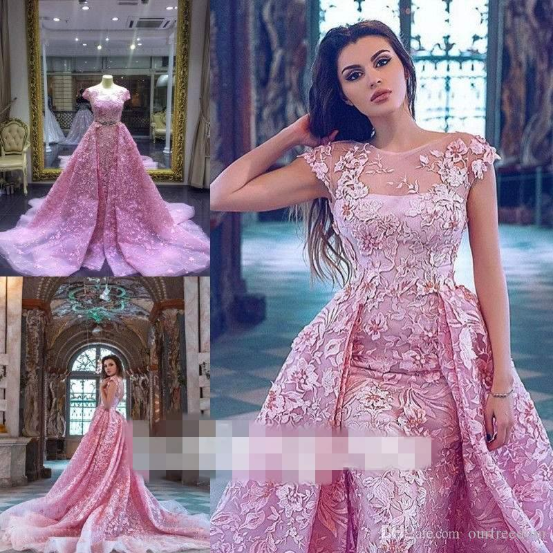 Princess Pink Mermaid Prom Dresses With Detachable Train Illusion ...