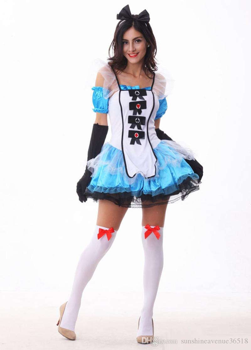 Alice In Wonderland Role Play Spaghetti Strap Dress Sexy Cosplay Halloween Costumes Uniform Temptation Stage Performance Clothing